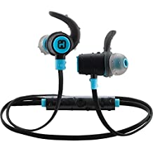 IHOME Water-Resistant Bluetooth Sport Clip Earbuds with Microphone Black/Blue-Retail Packaging