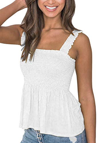 (MISSACTIVER Women's Solid Cute Smocked Tank Tops Sexy Cami Sleeveless Tops Blouse White)