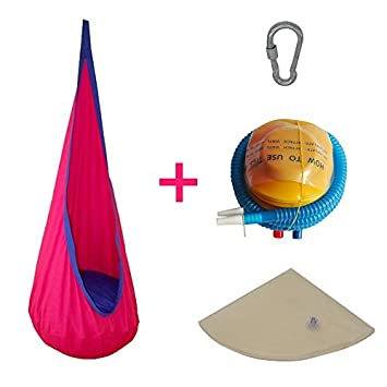 Wealers Folding Children Nest Hanging Swing Pod Chair Seat Indoor and Outdoor Hammock Exercise Use Toy for Kids with Inflator Pump Pink