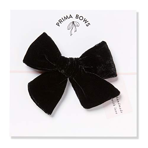 Handmade Black Velvet Fabric Bows For Girls, For Newborns Through Toddlers (1 Size Fits All) - Prima Bows (Black, Alligator Clip) from Prima Bows