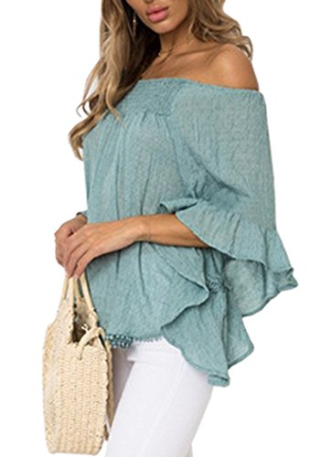 New Floral Womens Sexy Flare Sleeve Tops Off Shoulder Solid Blouses Shirts Blue Small