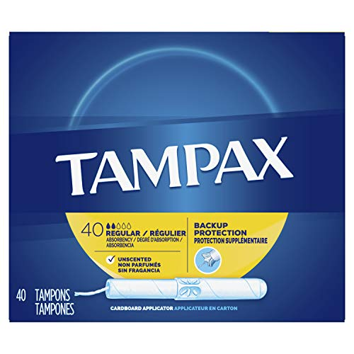 - Tampax Cardboard Applicator Tampons, Regular, Unscented, 40 Count