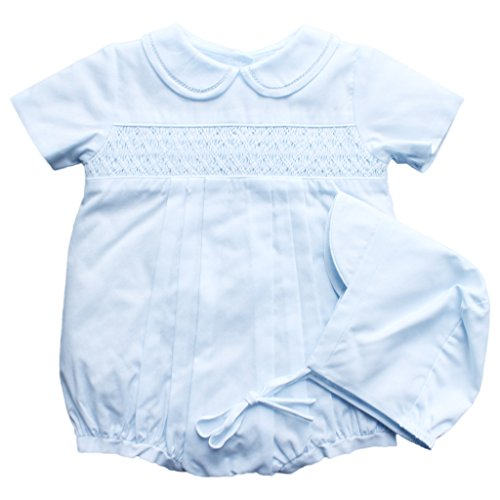 Romper with Smocking and Fagotting at collar in Blue