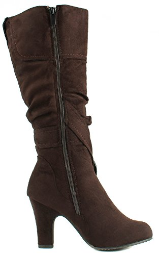 Buckle Top Boots with Women's Brown Crossed Mid Straps Heel Moda 4 Suede Strong WpOq1wvap