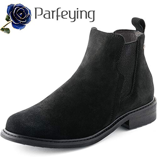 Parfeying Ankle Boots, Waterproof Booties, Non-Slip Rubber Sole, Casual Shoes, Pig Leather Lining (L10138, Black, US 8)