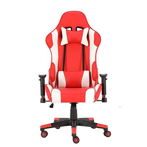 Presidente de juego Cuero de la PU con la silla soporte lumbar y reposacabezas ergonomicos respaldo alto giratorio Gaming Silla de oficina ordenador (Color : Picture Color , Size : 70X70X125CM)