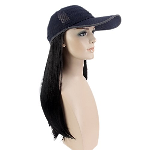 Smart Parts Baseball (Stfantasy Wigs for Women Cosplay Costume Long Straight Synthetic Baseball Cap Peluca 24 Inch 250g w/ free Wig Cap and Clips, #1B Natural Black)