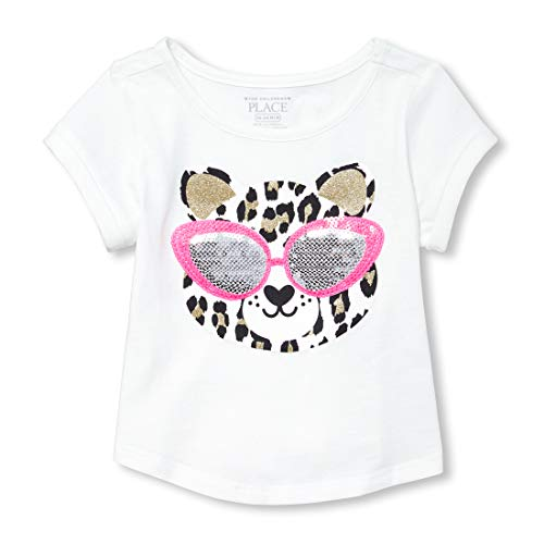 The Children's Place Baby Girls Novelty Short Sleeve Roll Cuff Tee, Simplywht, 5T ()