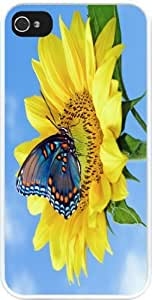 Rikki KnightTM Neon Blue Butterfly Design iPhone 4 & 4s Case Cover (White Rubber with bumper protection) for Apple iPhone 4 & 4s