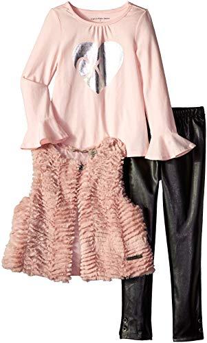 Calvin Klein Girls' Little 3 Pieces Faux Fur Vest Set, Pink/Stripes, 6]()