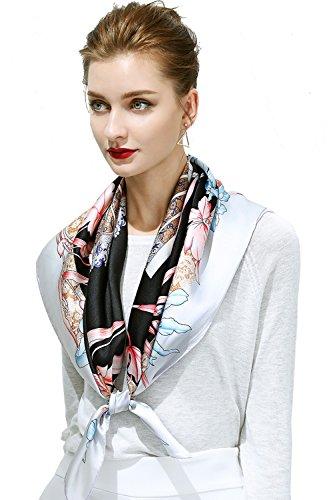 OSCAR ROSSA 100% Silk Scarf, 35″x35″ Large Square Printed Silk Charmeuse Scarf