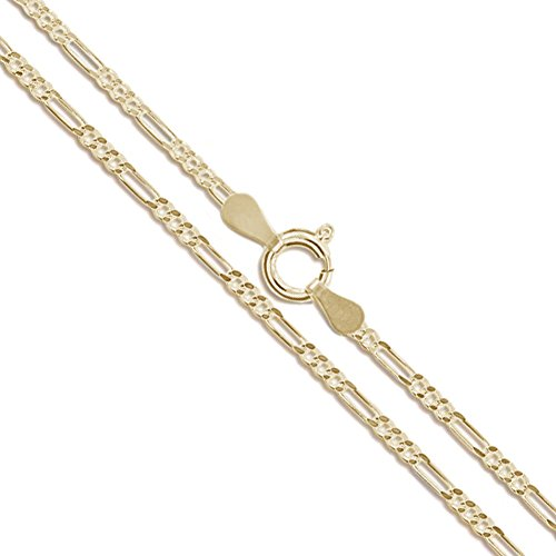 10k Yellow Gold-Hollow Figaro Link Chain 1.9mm 050 Gauge Necklace 24