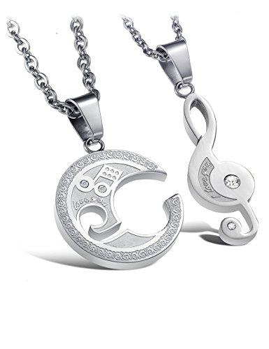 [Titanium Steel His & Hers Matching Lucky Music Note Elements Chain Pendant Necklaces] (Titanic Costumes Ideas)