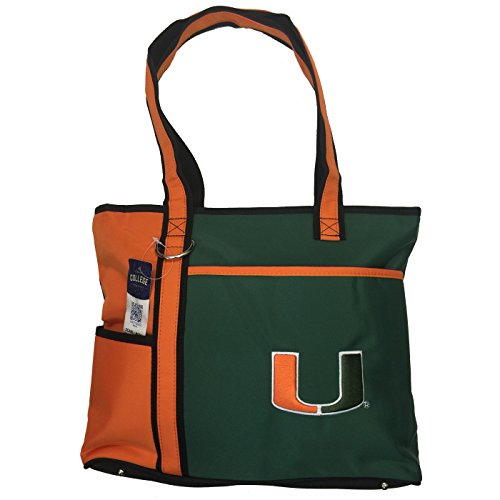 - NCAA Miami Hurricanes Tote Bag with Embroidered Logo