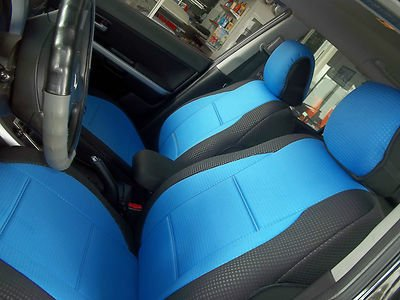 BMW Convertible & Coupe Two Front Diamond Polyester Custom Car Seat Covers (Bmw E36 Coupe/compact, Blue / Black Sides)