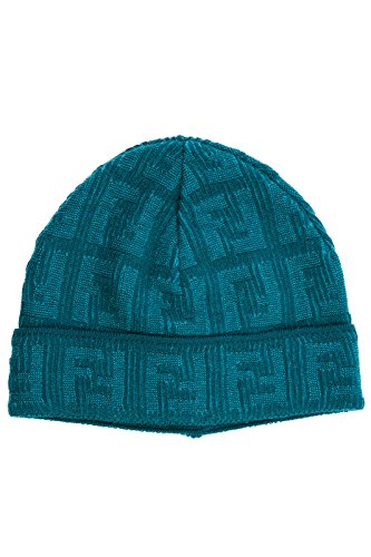 Fendi women's wool beanie hat blu US size UNI FXQ538 Q00 F0QC7 by Fendi
