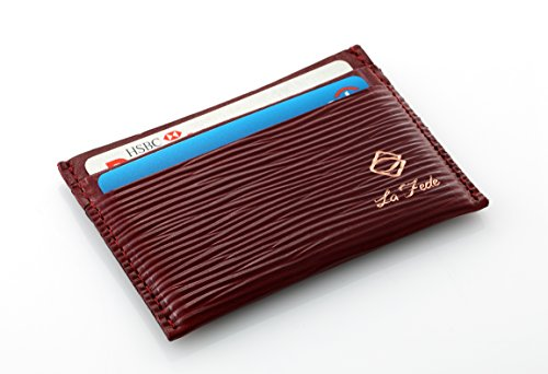 La Fede's Aqua Series Card Holder - Top  - Maroon Leather Grain Shopping Results
