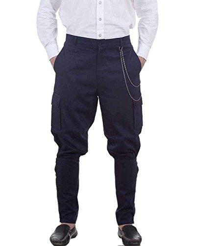 ThePirateDressing Steampunk Victorian Costume Airship Pants Trousers -Blue (medium)