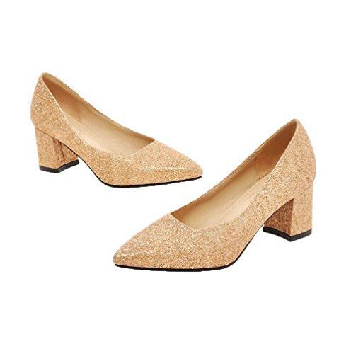 Allhqfashion Dames Bezaaid Pu-pumps Met Puntige Neus, Pull-on Pumps-schoenen Goud