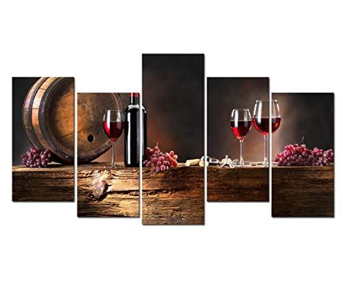 Cao Gen Decor Art-PSRP12826 Panels Wall Art Fruit Grape Red Wine Glass Painting on Canvas Stretched and Framed Canvas Paintings Ready to Hang for Home Decorations Wall (Grapes Home Decor)