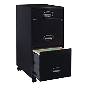 Lorell 17427 3-Drawer Mobile File Cabinet, 18-Inch