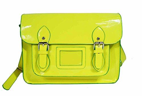 De Mujer Satchel Charol Pvc Cuero Bolso Cruzado Clásico Retro Bolsos Neón Brillante Quenchy Q421 - Amarillo Amarillo