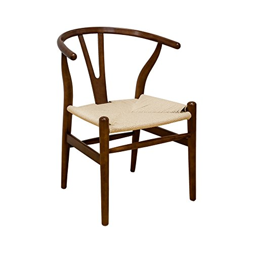 Ergo Furnishings Mid-Century Modern Wishbone Wood Dining Accent Chair, Walnut