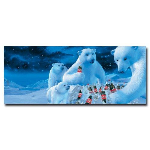 Coke Polar Bears with Nest of Coke Bottles 13x22-Inch Canvas Wall ()