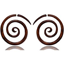 Ethnic Arts India Women's Boho African Taboo Tribal Big Spiral Fake Gauge Wood Earring Brown WER044A