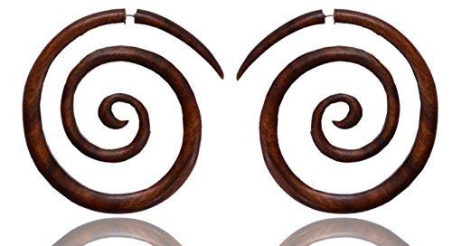 Ethnic Arts India Women's Boho African Taboo Tribal Big Spiral Fake Gauge Wood Earring Brown