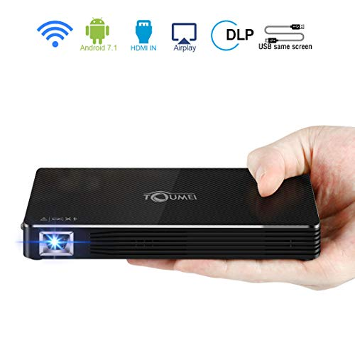 Notebook Portable Wireless (Toumei Mini Projector,Pico Portable Projector DLP Multimedia Video Projector,Android 7.1 Wireless WiFi Projector for iPhone iPad Laptop, Home Theater Outdoor Game Include Warranty)