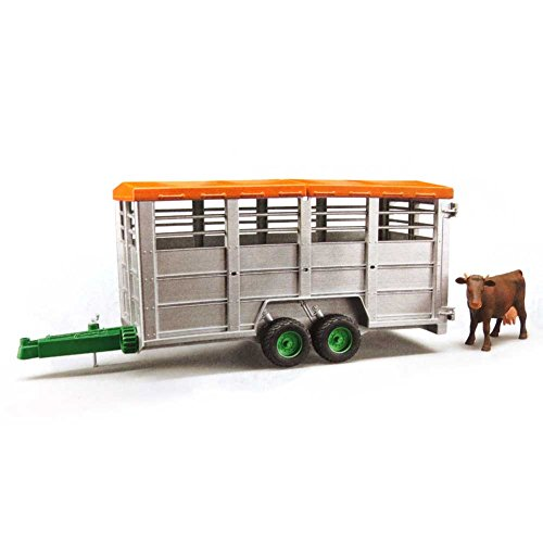 Bruder Livestock Trailer Vehicle with 1 Cow, Brown/Black, One Size