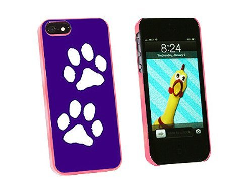 Graphics and More Paw Prints Purple Snap-On Hard Protective Case for iPhone 5/5s - Non-Retail Packaging - Pink