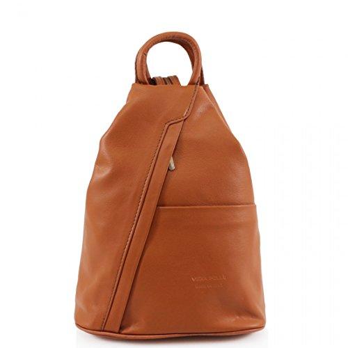 Camel Grab PELLE Rucksack Backpack straps handles Soft Adjustable VERA leather geniune Leather Bag Shoulder nUxIOqBw