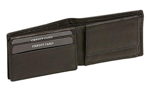 Damen und Herren klassische Minibörse Mini Scheintasche mit Klappe extra flach im Querformat LEAS in Echt-Leder, schwarz
