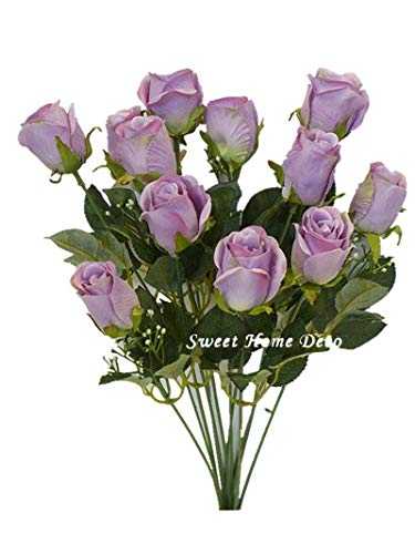 - Sweet Home Deco 18'' Silk Rose Bud Artificial Flower Bush (12 Stems/12 Flowers) Wedding Home Decoration (Lavender)