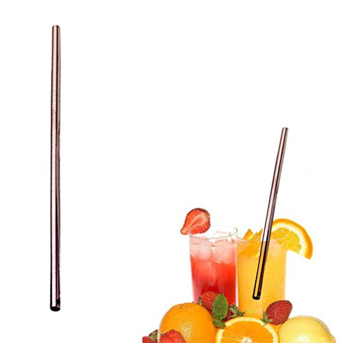 St05 Rose - Stainless Steel Staws,Sikye 6mm Diameter Metal Drinking Reusable Straws Bent/Straight Washable Lenth 21.5cm (Rose Gold (Straight))