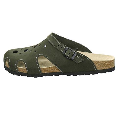 AFS-Schuhe 3093 Clogs Damen und Herren, Bequeme Hausschuhe Unisex, Hochwertiges, Echtes Leder, Praktische Arbeits-Pantoffeln, Modische Schlappen Für Zu Hause, Made in Germany Oliv