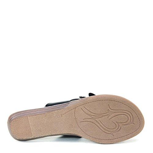 Brieten Mujeres Flat Rhinestone Flip-flop Mariposa Zapatos Negro