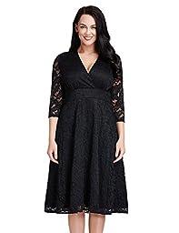 LookbookStore Women\'s Plus Size Black Lace Bridal Formal Skater Dress 30W
