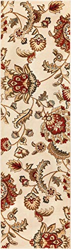"Well Woven Grand Garden Ivory Floral Oriental Modern Formal Rug 2x7 (2'3"" x 7'3"" Runner) Easy to Clean Stain Fade Resistant Shed Free Traditional Transitional Soft Living Dining Room Rug from Well Woven"