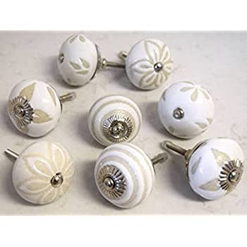 12 x Mix Vintage Look Flower Ceramic Knobs Door Handle Cabinet