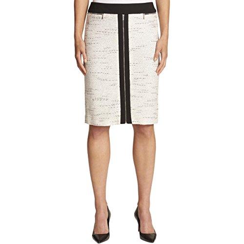 Calvin Klein Women's Pencil Skirt with Ponte, Black/White Tweed, ()