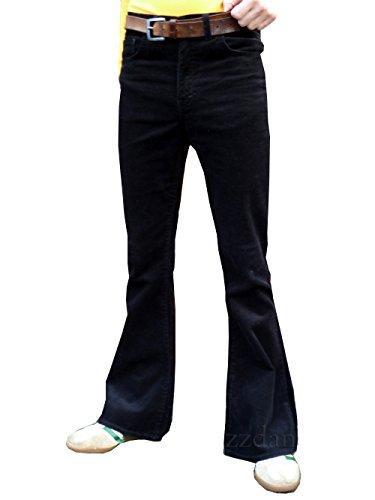Homme Taille Haute Noir Pantalon Velours Côtelé Pantalon Mod Hippie