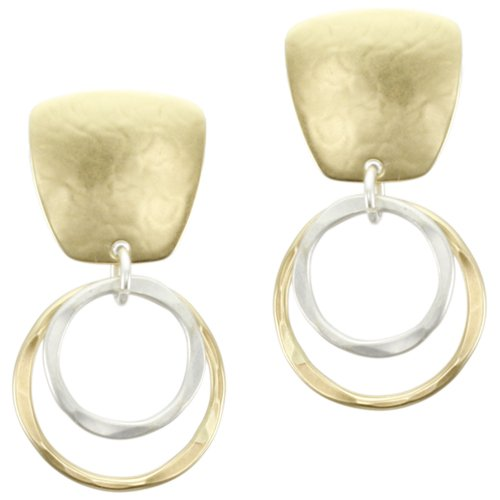 Marjorie Baer Square with Tiered Rings Clip on Earring