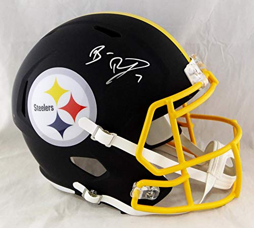 Ben Roethlisberger Autographed Pittsburgh Steelers F/S Flat Black Replica Helmet - Beckett Auth Silver