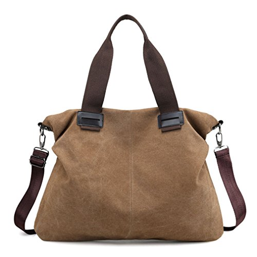 Women's Canvas Tote Purses Work Handbags Satchel Shoulder Bag (Brown)