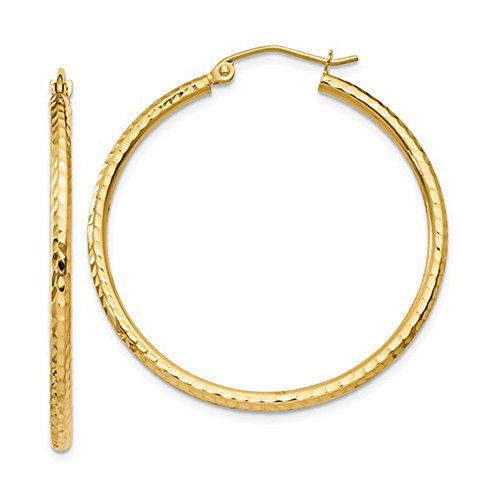 14K Yellow Gold Diamond Cut Tube Hoop Earrings, (2mm Tube) (35mm) ()