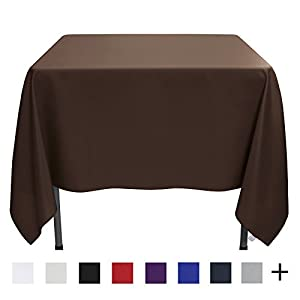 Remedios Tablecloth 85-inch Square Polyester Table Cover - Wedding Restaurant Party Banquet Decoration, Chocolate