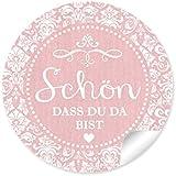 """24 STICKER: """"Schön, dass du da bist"""" Schöne Etiketten im """"Shabby Chic gestreiften Packpapier Retro Look"""" in zartem rosa mit Herz und Ornamente (4 cm, rund, matt ) Für Gastgeschenke oder Tischdeko zu jedem Anlass"""